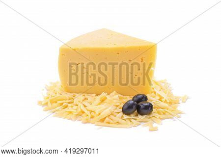 A Piece Of Hard Yellow Gouda Cheese And Grated Cheese With Olives In Close-up, Isolated On A White B