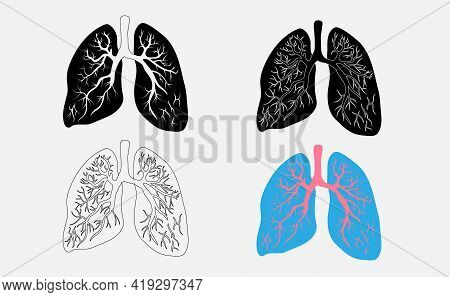 Lungs Symbol. Breathing. Lunge Exercise. Lung Cancer Asthma, Tuberculosis, Pneumonia . Respiratory S