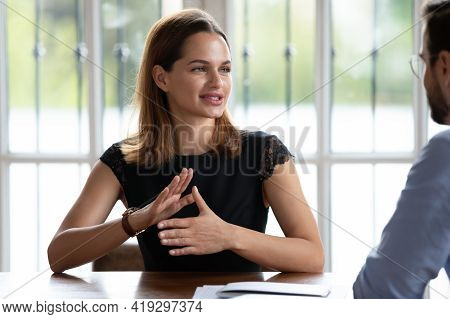 Skilled Female Hr Manager Involved In Job Interview With Candidate.