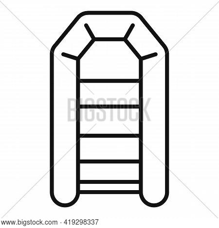 Illegal Rubber Boat Icon. Outline Illegal Rubber Boat Vector Icon For Web Design Isolated On White B