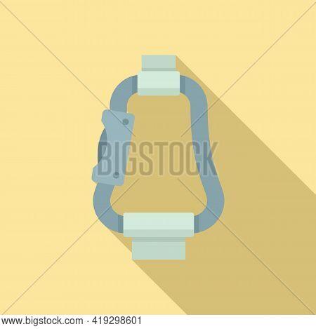 Parachuting Carabine Icon. Flat Illustration Of Parachuting Carabine Vector Icon For Web Design
