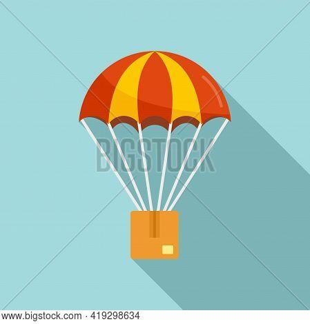 Parachuting Parcel Icon. Flat Illustration Of Parachuting Parcel Vector Icon For Web Design
