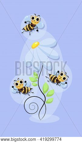 Cheerful Bees Swarm. Chamomile Flower. World Bee Day. Bees Honey Swarming, Fly In Flower Meadow.