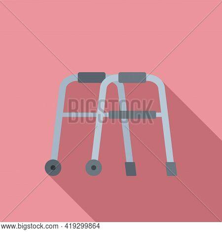 Senior Walker Icon. Flat Illustration Of Senior Walker Vector Icon For Web Design