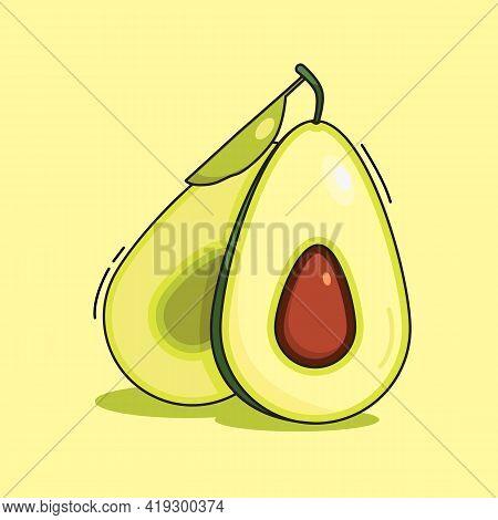 Sliced Avocado. Delicious, Fresh. Two Halves Of Avocado. Vector Illustration.