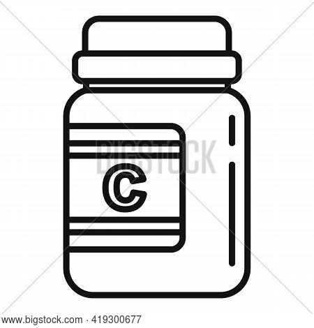 Vitamin Jar Icon. Outline Vitamin Jar Vector Icon For Web Design Isolated On White Background