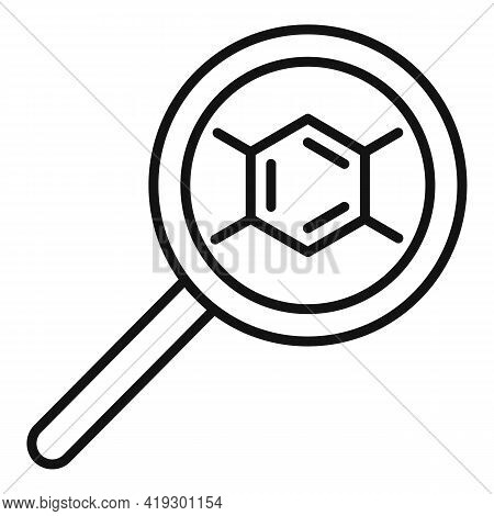 Magnifier Hormones Icon. Outline Magnifier Hormones Vector Icon For Web Design Isolated On White Bac
