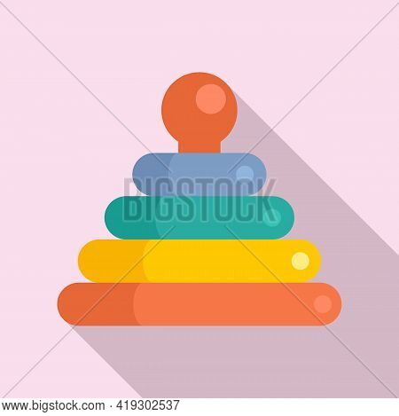 Toy Pyramide Icon. Flat Illustration Of Toy Pyramide Vector Icon For Web Design