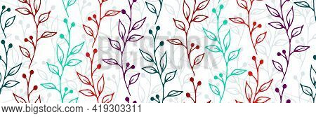Berry Bush Sprouts Organic Vector Seamless Background. Creative Floral Textile Print. Meadow Plants
