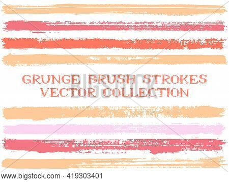 Long Ink Brush Strokes Isolated Design Elements. Set Of Paint Lines. Modern Stripes, Textured Paintb