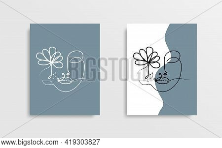 Face With Flower One Line Drawing. One Line Vector Cover Poster Design. Line Art. Vector Illustratio
