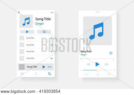 Audio Player Interface. Music Player App Interface. Social Media Screen Template Mobile Audio Player