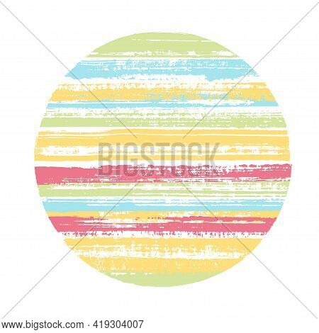 Circle Vector Geometric Shape With Striped Texture Of Paint Horizontal Lines. Old Paint Texture Disk