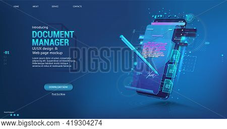 Document Manager - Mobile Phone App For Business. Signing A Contract Or Agreement Online. Digital Si