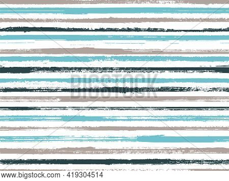 Hand Drawn Paint Stripes Fabric Print Seamless Vector. Original Decor Lines Pattern. Hand Painted St