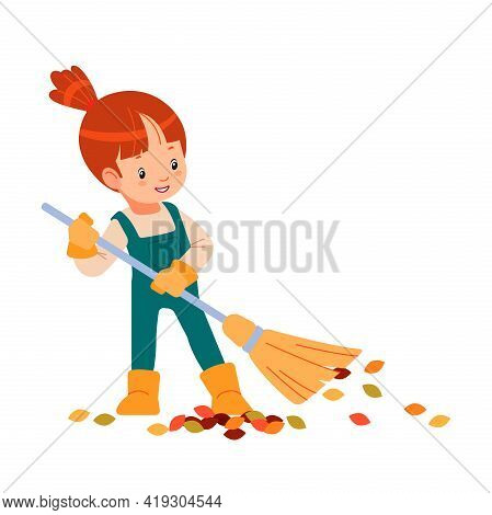 Hello Spring Or Autumn. Little Kid Gardener Raking Leaves. Child Is Doing Housework Chores At Home C