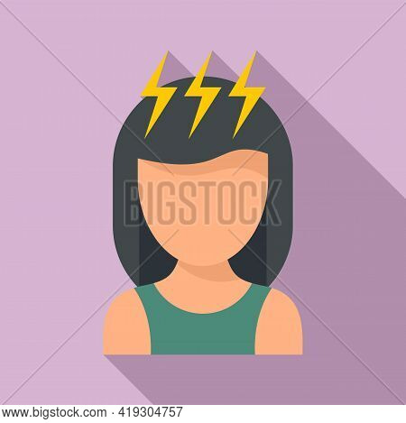 Girl Teen Problems Icon. Flat Illustration Of Girl Teen Problems Vector Icon For Web Design