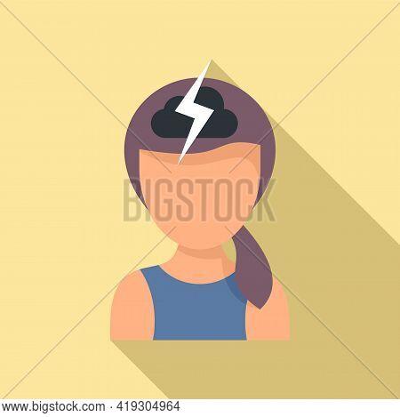 Storm Girl Teen Problem Icon. Flat Illustration Of Storm Girl Teen Problem Vector Icon For Web Desig