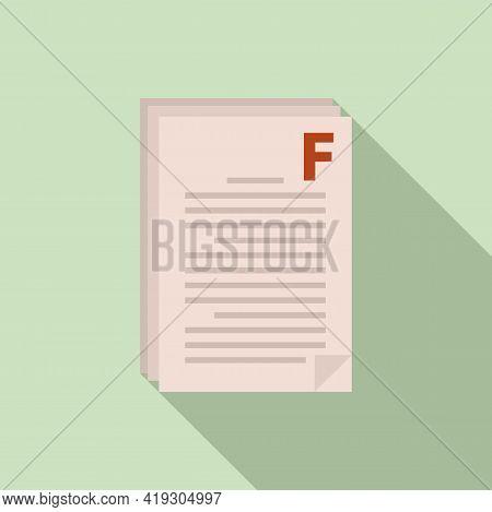 Bad Test Result Teen Icon. Flat Illustration Of Bad Test Result Teen Vector Icon For Web Design