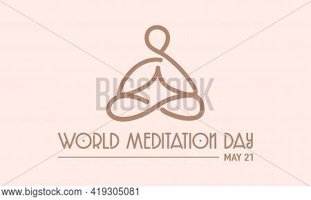 World Meditation Day Health Prevention And Awareness Vector Concept. Banner, Poster World Meditation