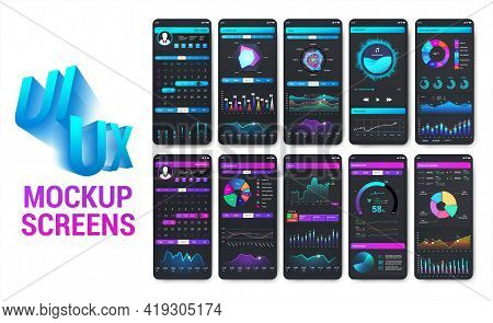 Bright And Colorful Smartphone Apps With Well-designed Ui. Mobile Phone App Mockups For Sport, Fitne