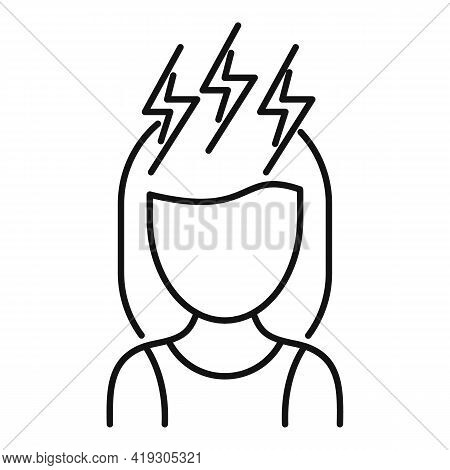 Girl Teen Problems Icon. Outline Girl Teen Problems Vector Icon For Web Design Isolated On White Bac