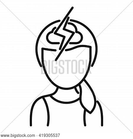 Storm Girl Teen Problem Icon. Outline Storm Girl Teen Problem Vector Icon For Web Design Isolated On