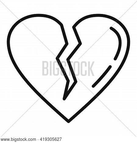 Teen Problems Heartbrake Icon. Outline Teen Problems Heartbrake Vector Icon For Web Design Isolated
