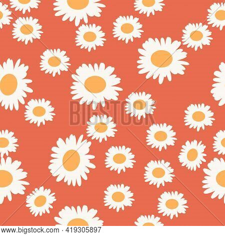 Abstract Floral Seamless Pattern With Cute Cartoon Chamomile On Pink Background. Trendy Hand Drawn T