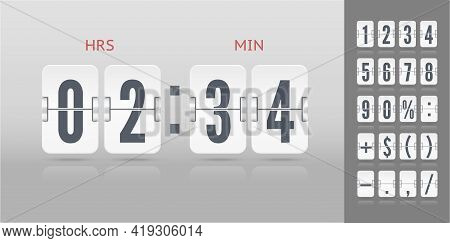 Flip Numbers Font Time Counter Information Page. Vintage Symbols Time Meter Vector Template. White A