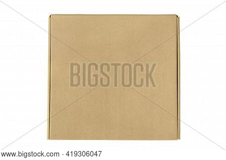 Blank Closed Brown Carton Box Isolated Over White
