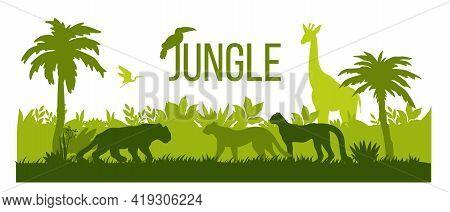 Jungle Silhouette Landscape, Rainforest Nature Outline Background, Palm Trees, Green Bushes, Giraffe