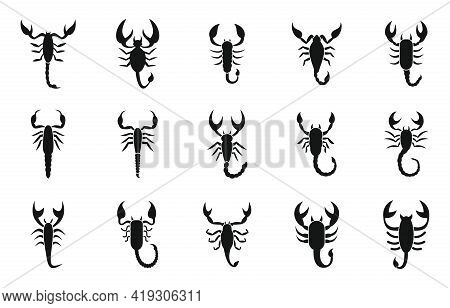 Scorpio Icons Set. Simple Set Of Scorpio Vector Icons For Web Design On White Background