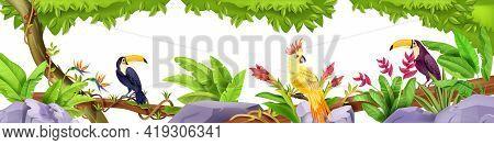 Jungle Exotic Birds Border, Tropical Nature Rainforest Illustration, Toucan, Parrot, Liana, Banana L