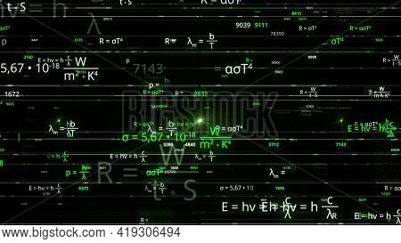 Concept Of Mathematical Or Scientific Research. Animation. Physics And Math Formulas For Calculation