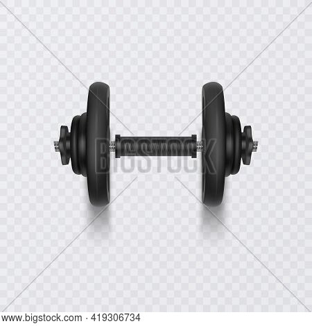 Black Dumbbell For Training, Realistic Detailed Close Up View Isolated On White Background. Sport El