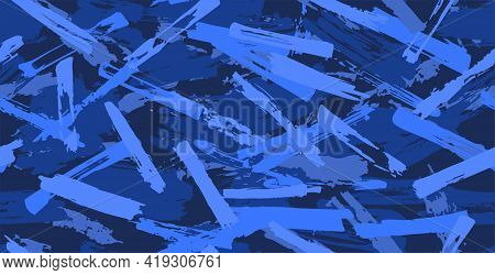 Blue Seamless Camouflage Pattern Of Brush Strokes, Perfect For Clothes. Shades Of Blue. Artwork Grun