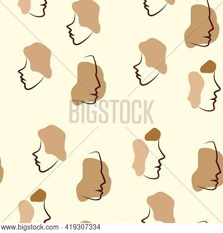 Various African Faces Seamless Pattern. Different African American Women. Afro Stains In Doodle Styl