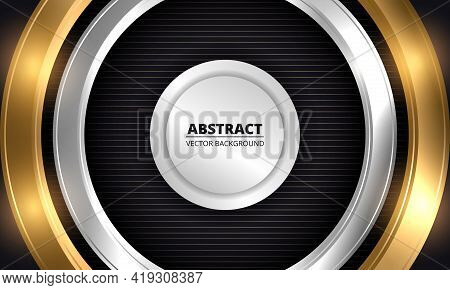 Abstract Luxury Dark Vector Background. Three-dimensional Gold And Silver Circles On Striped Black B