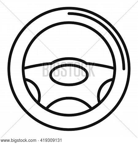 Steering Wheel Icon. Outline Steering Wheel Vector Icon For Web Design Isolated On White Background