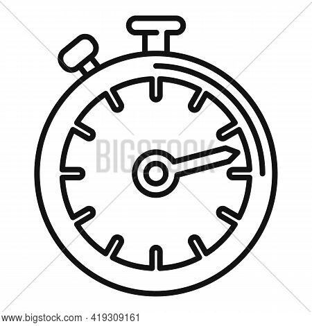 Driving School Stopwatch Icon. Outline Driving School Stopwatch Vector Icon For Web Design Isolated