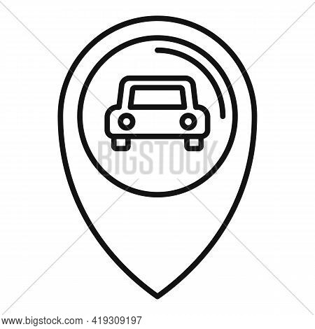 Driving School Location Icon. Outline Driving School Location Vector Icon For Web Design Isolated On