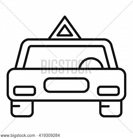 Driving School Car Icon. Outline Driving School Car Vector Icon For Web Design Isolated On White Bac