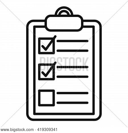 Driving School Clipboard Icon. Outline Driving School Clipboard Vector Icon For Web Design Isolated