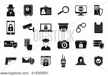 Security Service Icons Set. Simple Set Of Security Service Vector Icons For Web Design On White Back