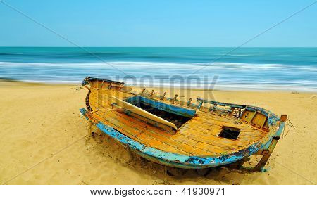 Deserted Boat On A Beach