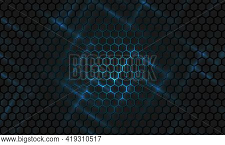 Black Hexagonal Technology Abstract Vector Background. Blue Bright Energy Flashes Under Hexagon In F