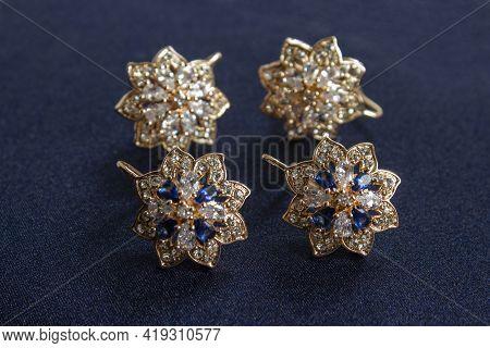 Star Earrings Earring Isolated On White Background
