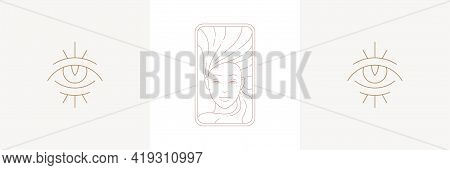Magic Woman And Eye Of Wisdom In Boho Linear Style Vector Illustrations Set.