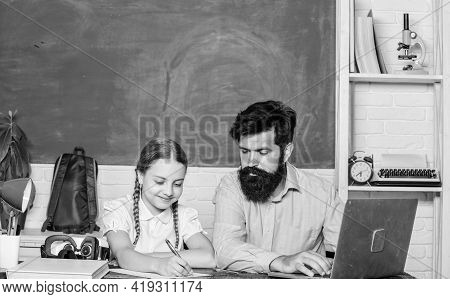 Man Bearded Pedagogue Teaching Informatics. Study Online. Private Lesson. School Teacher And Schoolg